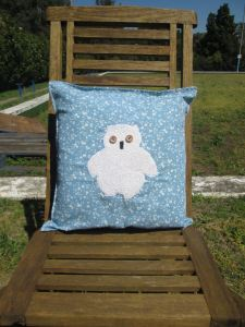 mr owl cushion - blue floral 1