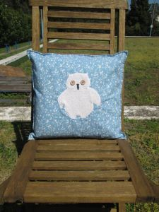 mr owl cushion - blue floral 2
