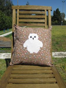 mr owl cushion - brown floral short edge