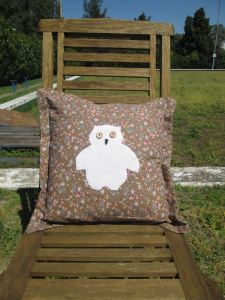mr owl cushion - brown floral wide edge