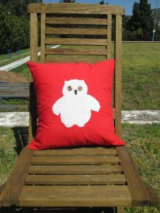 mr owl cushion - red