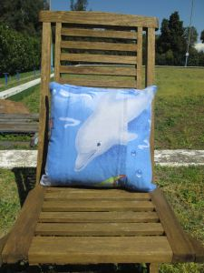 mr owl cushion - underwater bubbles (back)