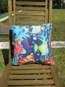 mr owl cushion - underwater deep sea (back)