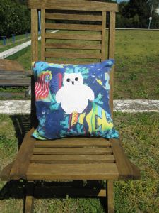 mr owl cushion - underwater deep sea (front)