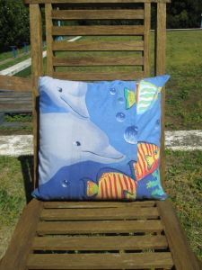 mr owl cushion - underwater fishes (back)