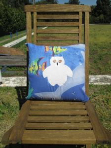 mr owl cushion - underwater fishes (front)